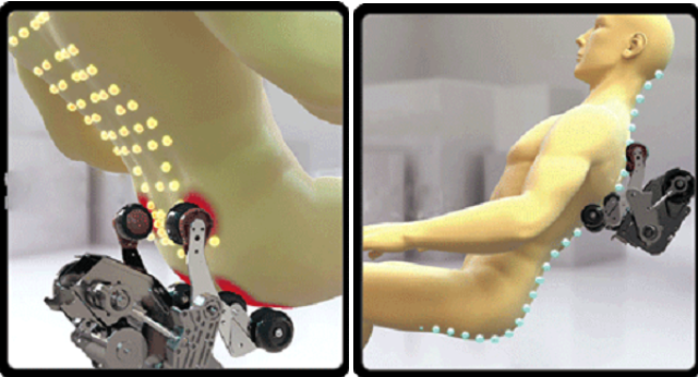 Các con lăn của MCP -800 có thể chạm tới bất cứ huyệt đạo nào trên cơ thể