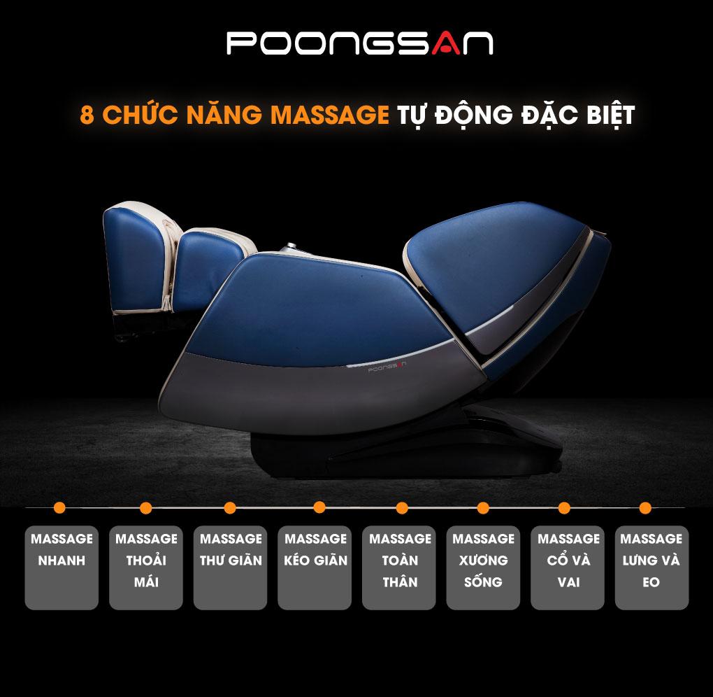 8 chức năng massage tự động trang bị trên Ghế massage MCP-801