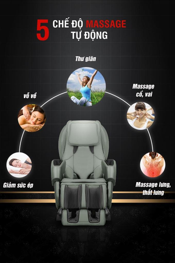 Ghế massage Poongsan MCP-200 được thiết kế với 5 chế độ massage tự động