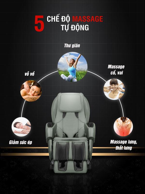 Ghế DMK 168 được thiết kế với 5 chế độ massage tự động