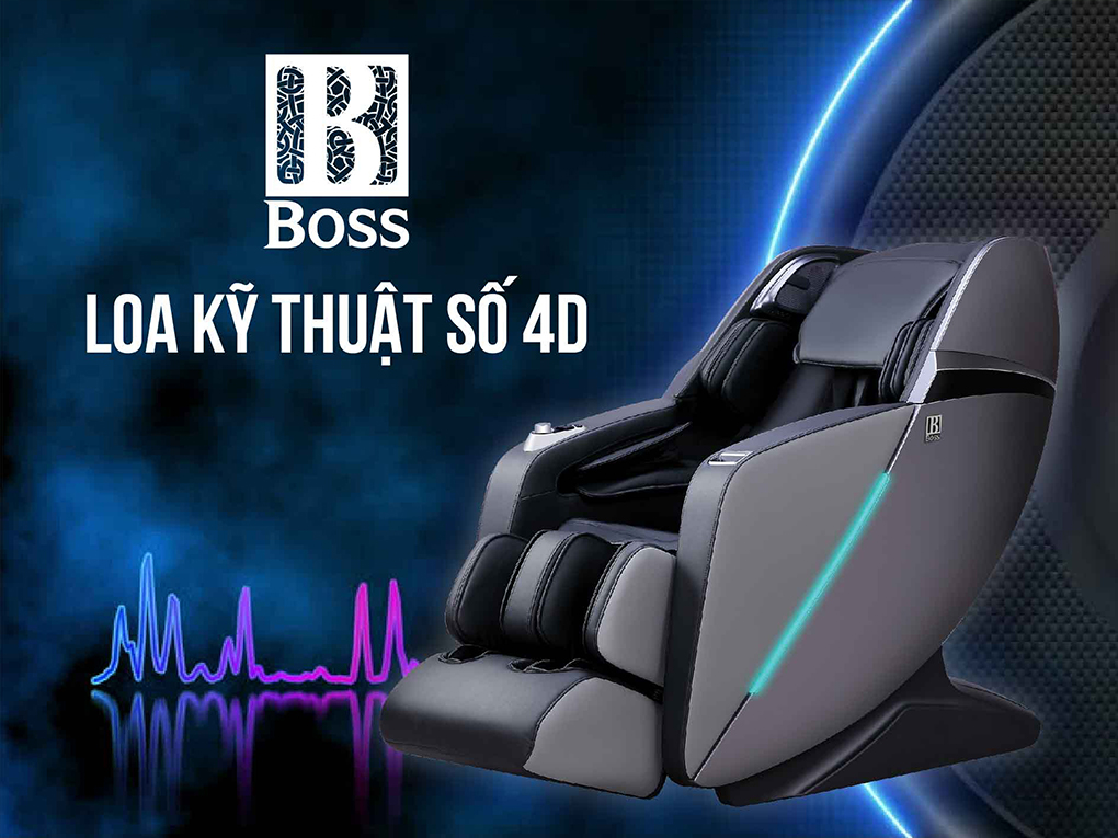 Ghế massage Boss trang bị hệ thống loa kĩ thuật số 4D hiện đại