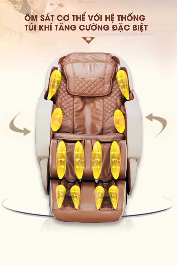 Ôm sát cơ thể với hệ thống túi khí tăng cường đặc biệt