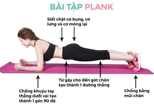 Thực hiện đúng các bước của bài tập Plank cho nữ